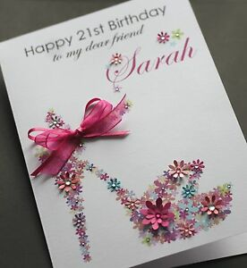 Image Is Loading LARGE A5 Handmade Personalised FLORAL SHOE Birthday Card