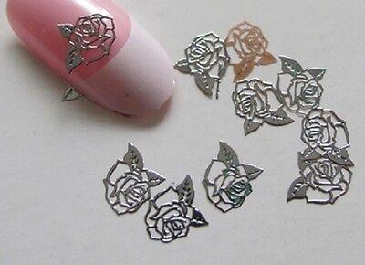 30 bijoux ongles décoration Nail Art stickers Art Decal métal argenté ROSE