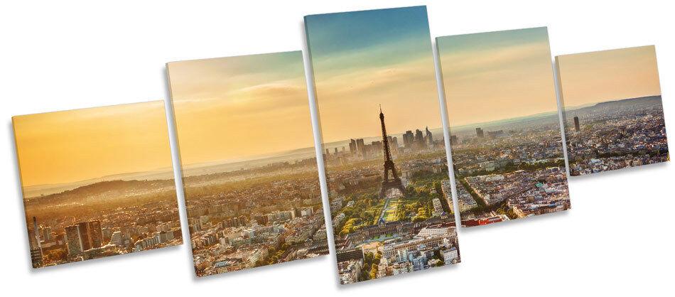 Puesta de sol de Torre Eiffel, París Ciudad MULTI impresión LONA pared arte impresión MULTI del marco de la caja 960a69