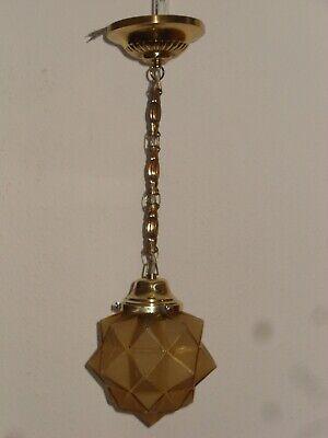 Rational Alte Hänge Lampe, Messing, Um 1920, Schirm Mit Karo Muster