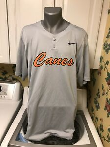 best loved 4bd46 d2a0c Details about Miami Hurricanes Nike Dri Fit SS Baseball Shirt Jersey Gray  Large Tall Polyester