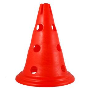 5 x Traffic Marker Hole Coni Hockey rugby Allenamento Strumento Rosso