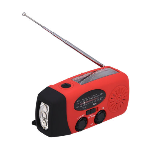 Emergency Solar Hand Crank Dynamo AM//FM Weather Radio LED Flashlight Charger JS