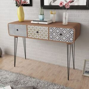 Image Is Loading Brown Side Cabinet Console Table Hallway 3 Drawer