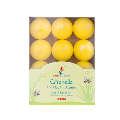 """Mega Candles Yellow Set of 12 1.5/"""" Citronella Scented Floating Disc Candles"""