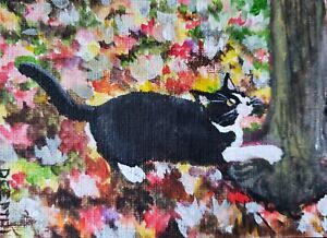 ACEO-original-miniature-painting-Acrylic-Art-Autumn-Kitty