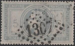 FRANCE-STAMP-TIMBRE-N-33-034-NAPOLEON-III-5F-VIOLET-GRIS-034-OBLITERE-TTB-SIGNE-K302