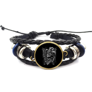 Cowboy Skull Glass Cabochon Bracelet Tressé Bracelet En Cuir Bracelets