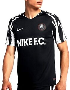 1e20cd52 NIKE F.C. SOCCER JERSEY / FOOTBALL SHIRT AA8128-010 Black/White ...