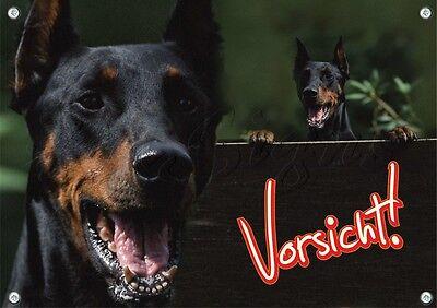 Besorgt Warnschild - Dobermann Pinscher - Hundeschild - Metallschild - Top Qualität