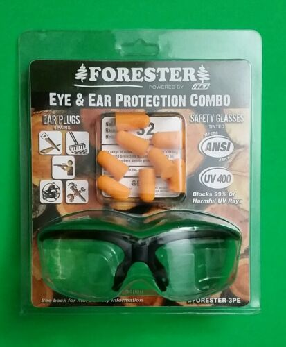 NEW ! SAFETY GLASSES AND FOAM EAR PLUGS COMBO  CLEAR 4 PR EAR PLUGS