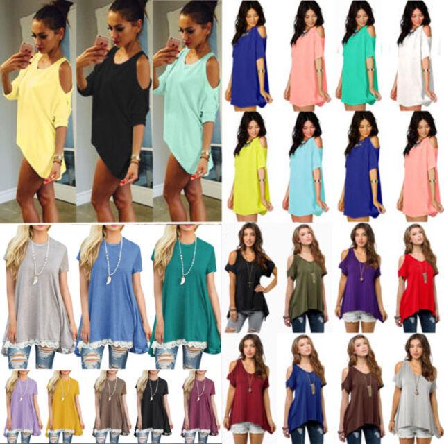 Womens Cold Shoulder Summer Blouse Tops Irregular Hem Swing Tee Shirt Plus Size