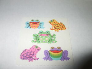 VTG-Colorful-SandyLion-Cute-FUZZY-FROGS-Toad-Critter-Stickers-Mod-Unused-Rare