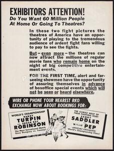 RKO Fight Promo__Original 1951 print AD / ADVERT__Turpin vs Sugar Ray Robinson