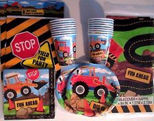 CONSTRUCTION PARTY Birthday Party Supply Set Pack Kit for 16 w/ Loot Bags