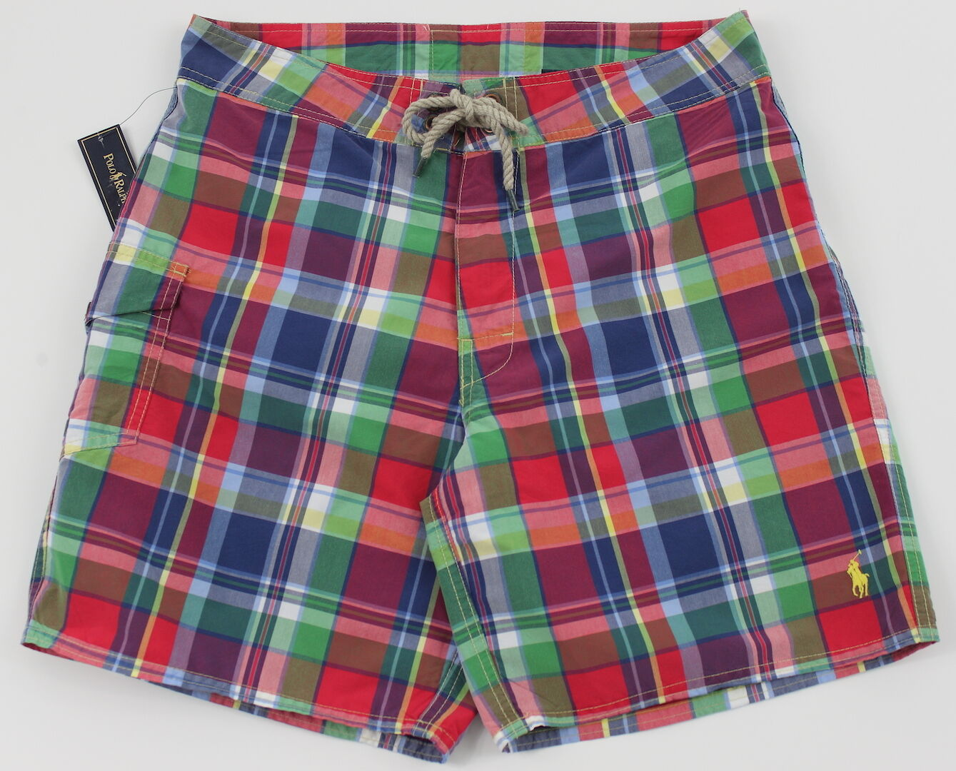 Men's POLO RALPH LAUREN Multi colors Plaid Swimsuit Trunks 36 NWT NEW 4103214