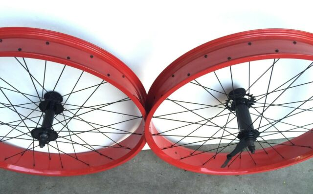 "Black Red Green Polish White BMI 26/""x 4.0 Bicycle front Disc Brake Fat Wheel"