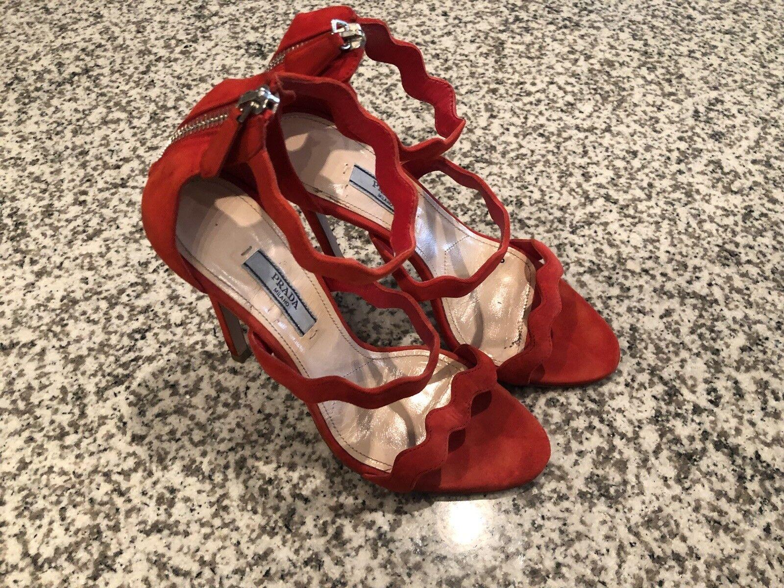 PRADA rot Orange Wavy Suede Sandals Sandals Sandals Heels CELEB FAV rot CARPET RUNWAY Größe 37 800787