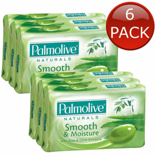 6 x PALMOLIVE ALOE & OLIVE SOAP BAR PACK SKIN CARE FAMILY BATH SHOWER BULK 80G