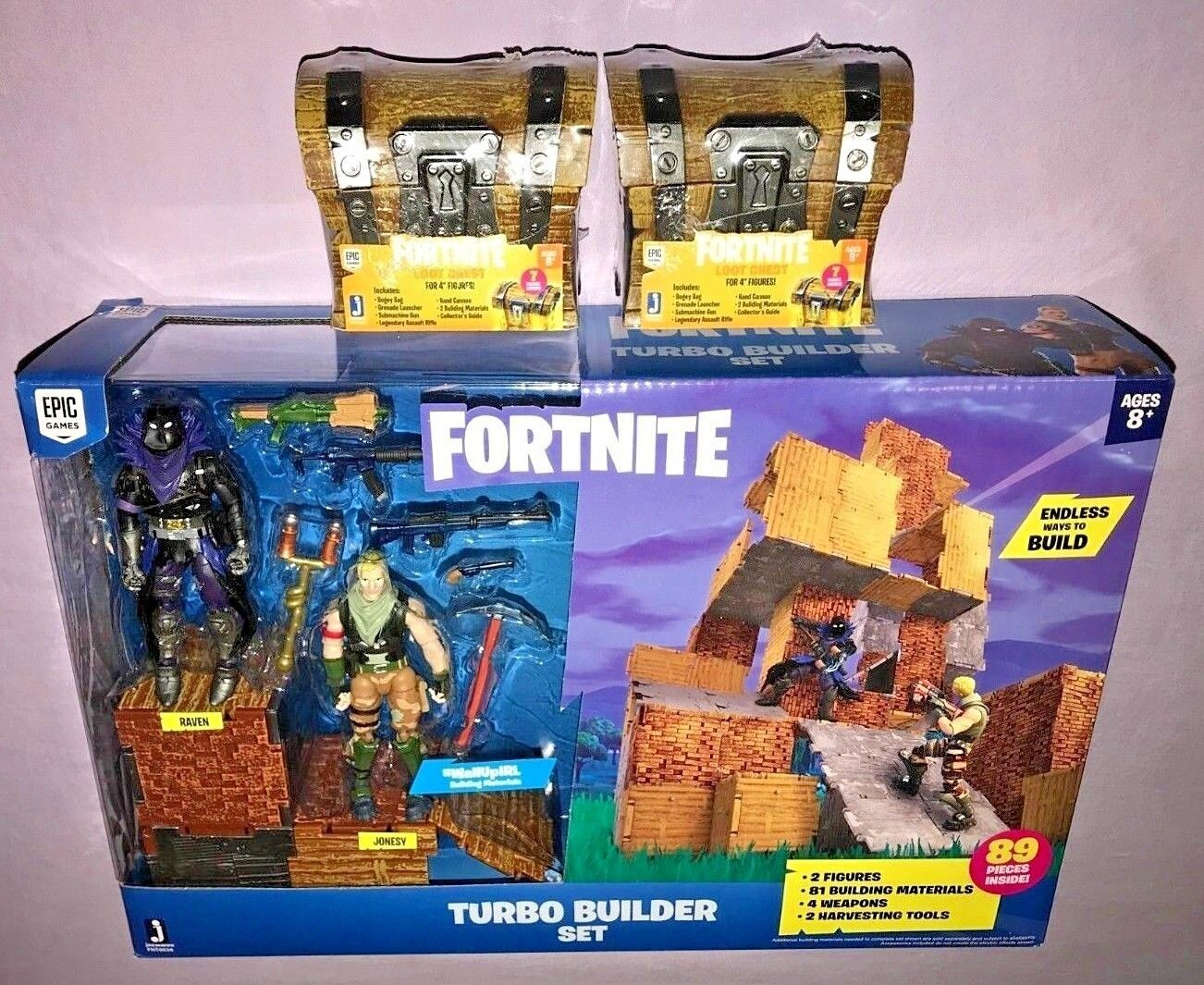 FORTNITE TURBO BUILDER SET + 2 2 2 LOOT CHEST NEW RELEASE 5bd257
