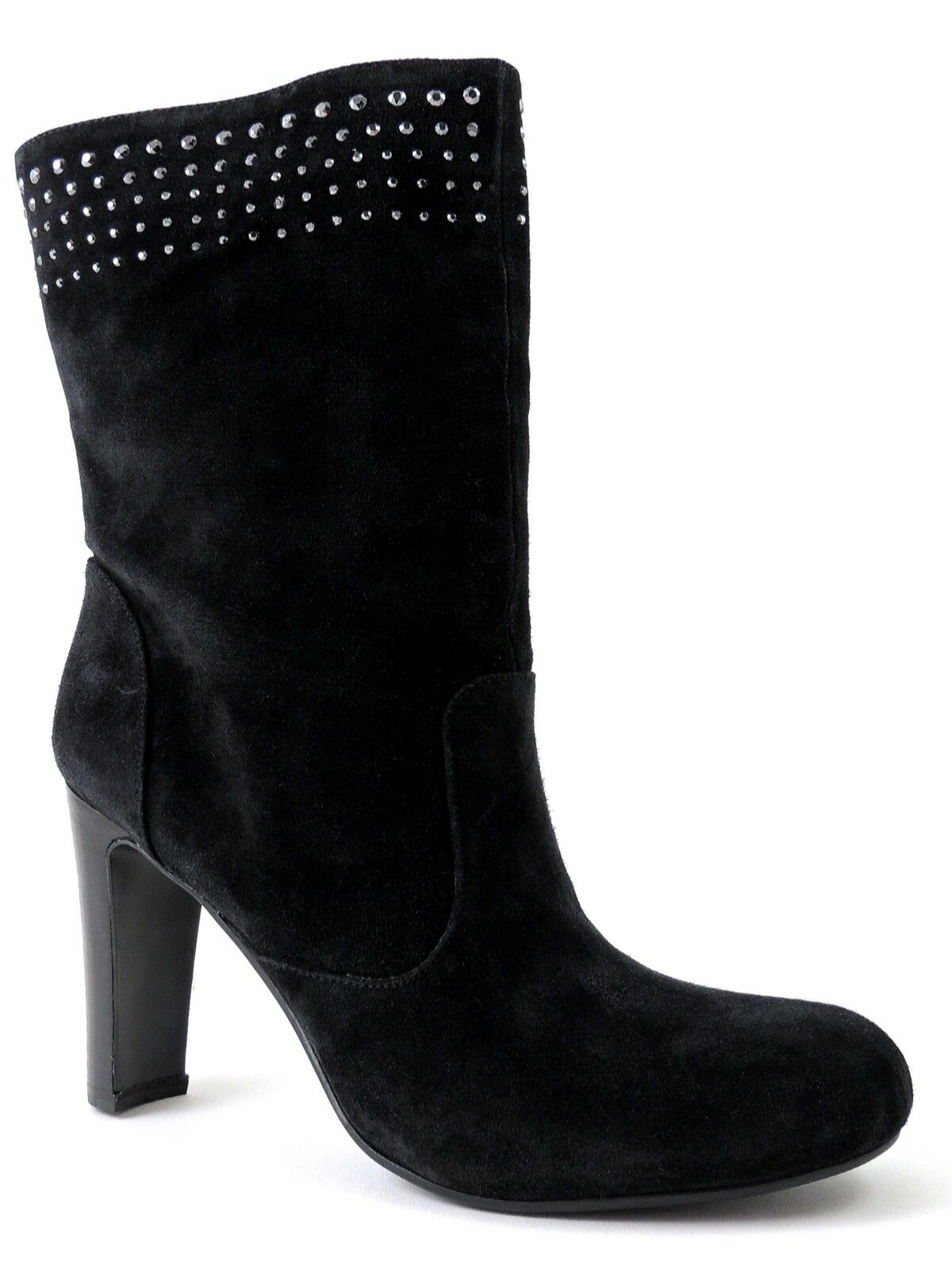Enzo Angiolini Women's Kissmet Boots Black Suede Studded Size 8 M