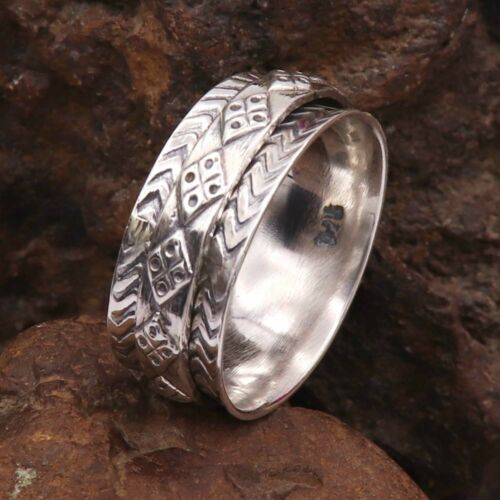 Details about  /Spinner Band Ring Solid 925 Sterling Meditation Ring All Sizes GESR39