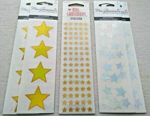 BULK LOT 6 Strips ~ Presents Gift Gold Trimming Party Mrs Grossman Stickers ~