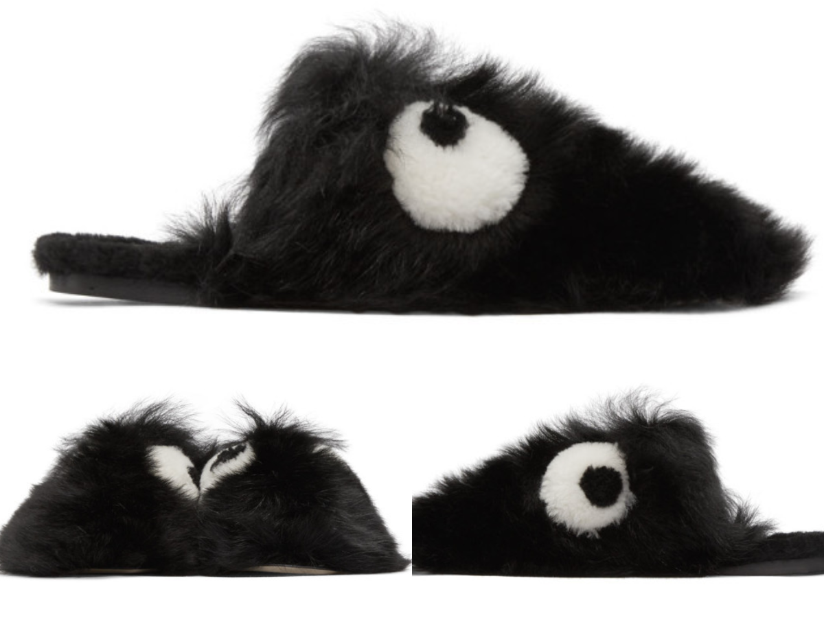 Anya HINDMARCH Shearling Creeper yeux Chaussons Moelleux curseurs Sandales Chaussures 40