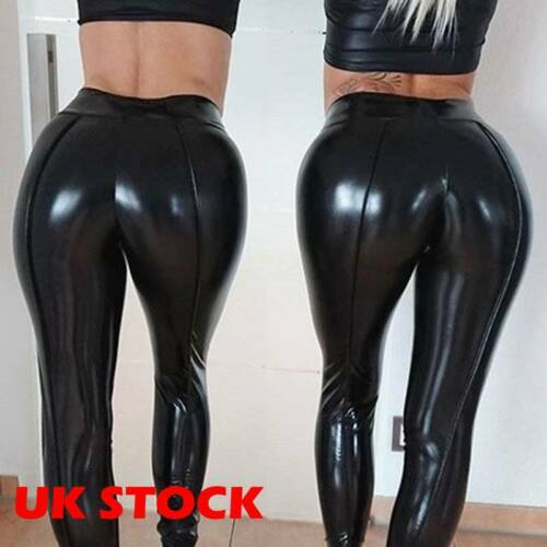 Women Wet Look Stretchy Faux Leather Pants Skinny High Waist Leggings Push Up