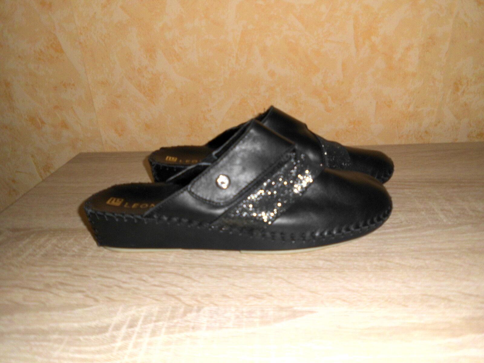Klett Pantoffel   Clog von Leonie NEU Gr. 41 F in black & Leder mit Swarowski