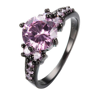 Round Pink Sapphire Engagement & Wedding Ring Women's 10KT Black Gold Filled