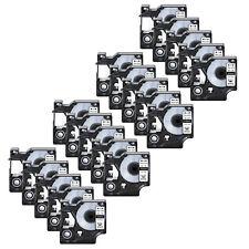 20pk 18443 Black On White Vinyl Label 9mm For Dymo Rhino 5000 5200 6000 Tape
