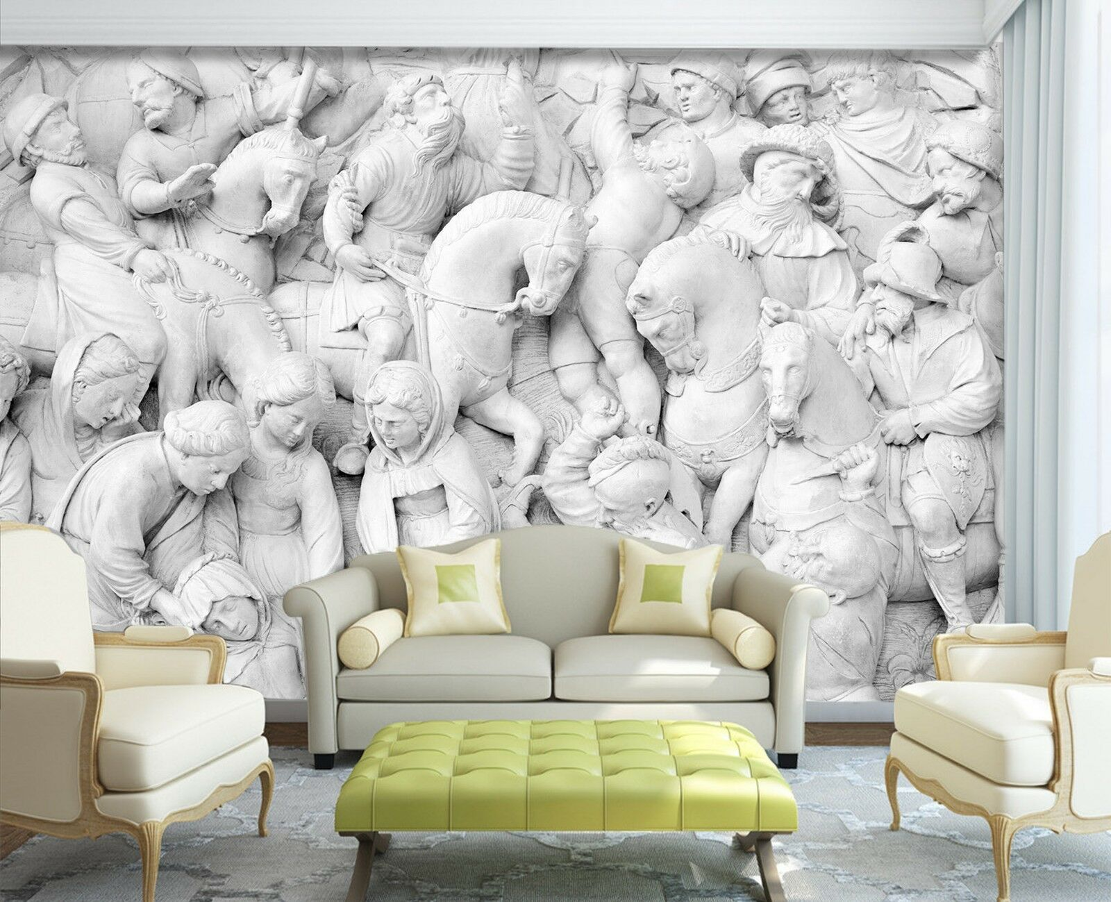 3D Weiß Sculpture Retro 5 Wall Paper wall Print Print Print Decal Wall Deco Indoor Mural eddeff