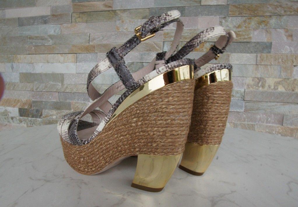 MIU Miu Miu Miu taglia 40,5 Plateau Sandali Scarpe scarpe 5xz127 Marronee ex UVP b93856