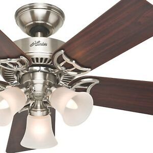 Image Is Loading Hunter 42 034 Brushed Nickel Ceiling Fan With
