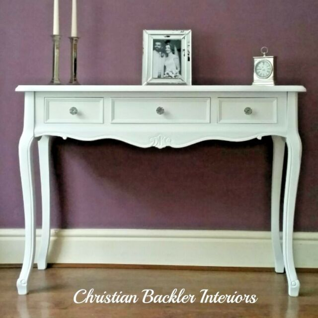 White Wood Console Table With 3 Drawers Vanity Hall Side French Style