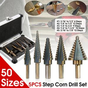 5pcs//Set HSS Cobalt Multiple Hole 50 Sizes Step Drill BIT Set w Aluminum Case Multifunction
