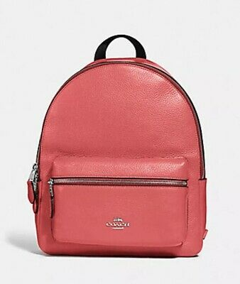 New Authentic Coach F30550 Medium Charlie Backpack in Pebble Leather Coral