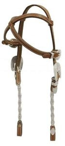 Western-Show-Horse-Bridle-Criss-Cross-Crown-2-Ear-Headstall-w-Silver-Reins