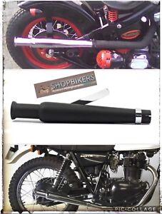 Details about Drain Terminal Silencer Motorrad Trumpet Universal Black  Triumph Royal Enfield