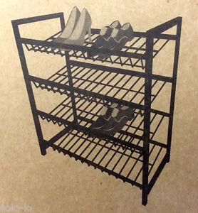 black 4 tier metal shoe rack shoes organiser stand new ebay