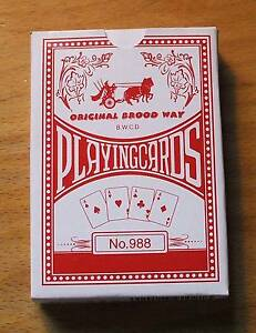 (1) No. 988  Original Brood Way Deck Of Playing Cards - Red