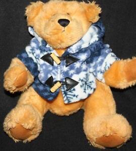 Dan Dee Tan Brown Teddy Bear Fleece Blue White Snow Flake Jacket Plush Soft Toy
