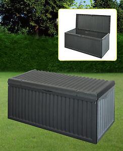 Black-Plastic-Garden-Storage-Box-With-Lid-Garden-Patio-Cushion-Storage-Box