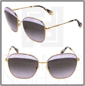 5d731892067 MIU MIU NOIR MU 53Q Square Gold Lilac Grey Sunglasses MU53QS ...