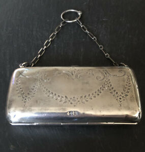 Antique-Sterling-Silver-Hallmarked-Birmingham-1916-17-Hinged-Purse-Bag-117-6gr
