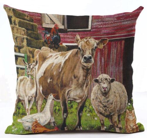 Canvas-Stoff Bauernhoftiere Kissenhülle Kissenbezug Motivkissen