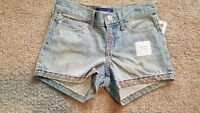 Girls Old Navy Light Wash Embroidered Shorty Shorts 7 10