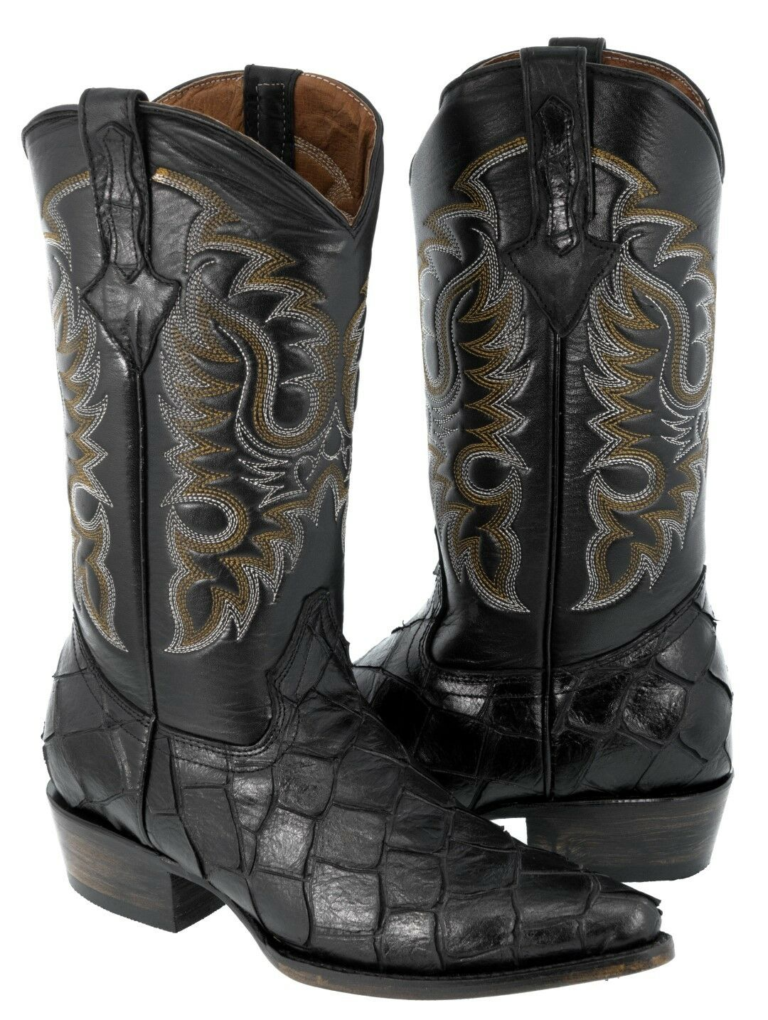 Mens braun Fish Print Design Leather Cowboy Stiefel Western Wear Pointed Toe