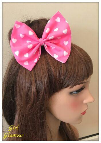Pink Hair Bow Hairband Headband Minnie Mouse Elastic Band Dress Costume Hearts